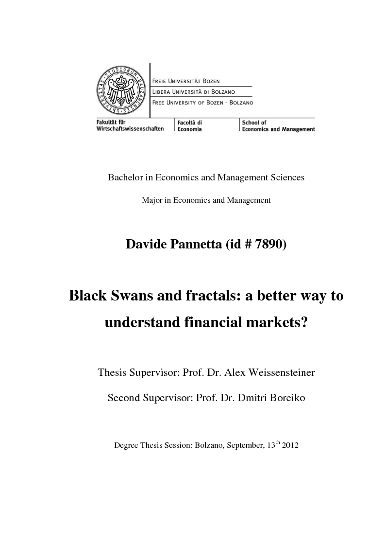 Anteprima della tesi: Black Swans and fractals: a better way to understand financial markets?, Pagina 1
