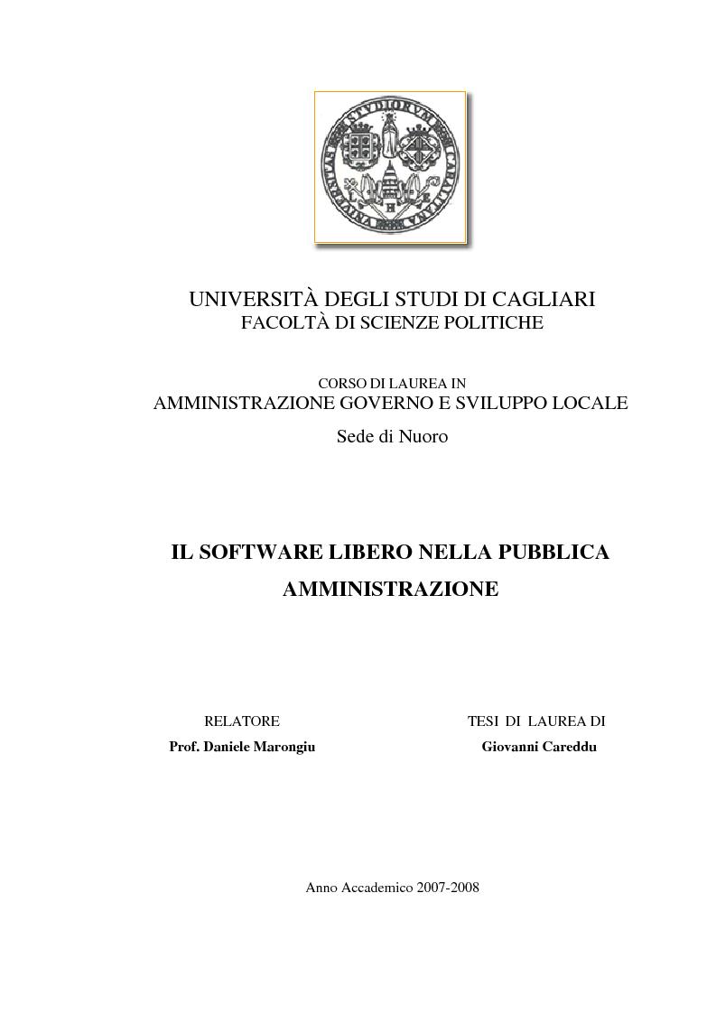 Anteprima della tesi: Il software libero nella pubblica amministrazione, Pagina 1