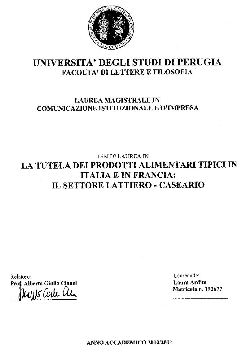 Anteprima della tesi: Tutela dei prodotti alimentari tipici in Italia e in Francia: il settore lattiero-caseario, Pagina 1