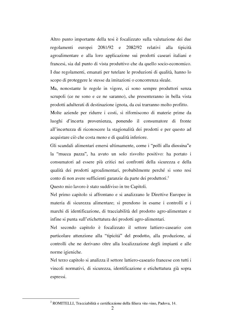 Anteprima della tesi: Tutela dei prodotti alimentari tipici in Italia e in Francia: il settore lattiero-caseario, Pagina 3