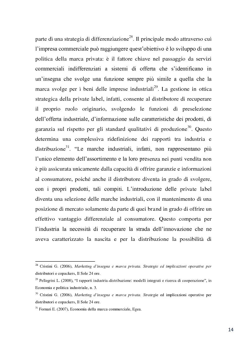 Anteprima della tesi: L'evoluzione della marca commerciale: le politiche adottate dai principali player della GDO in Italia, Pagina 12