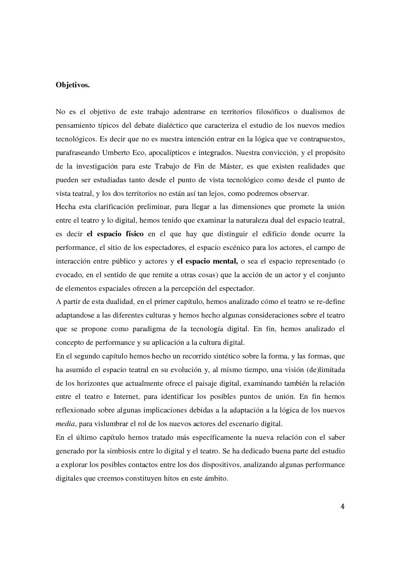 Anteprima della tesi: Teatro Digital. Poética y performatividad de los dispositivos multimedia y entornos web, Pagina 3