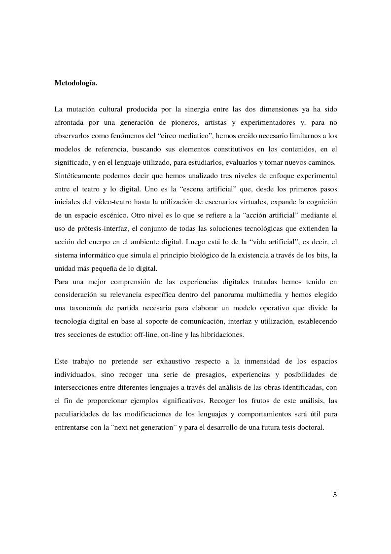 Anteprima della tesi: Teatro Digital. Poética y performatividad de los dispositivos multimedia y entornos web, Pagina 4