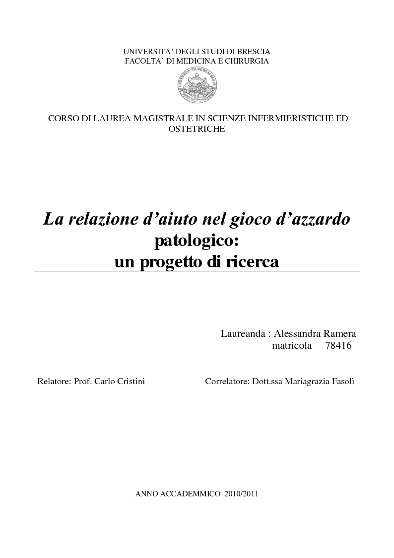 Anteprima della tesi: La relazione d'aiuto nel gioco d'azzardo patologico: un progetto di ricerca, Pagina 1