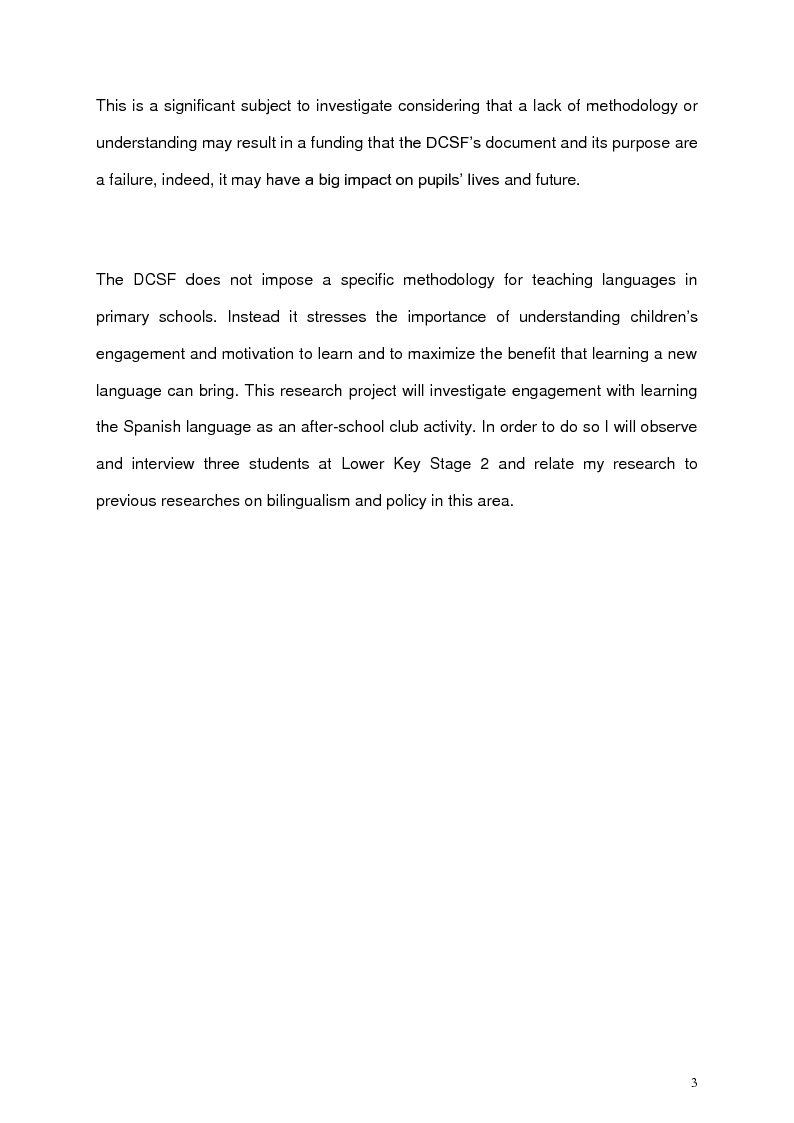 Anteprima della tesi: An exploration with three bilingual children's engagement with learning Spanish as an after-school club, Pagina 4
