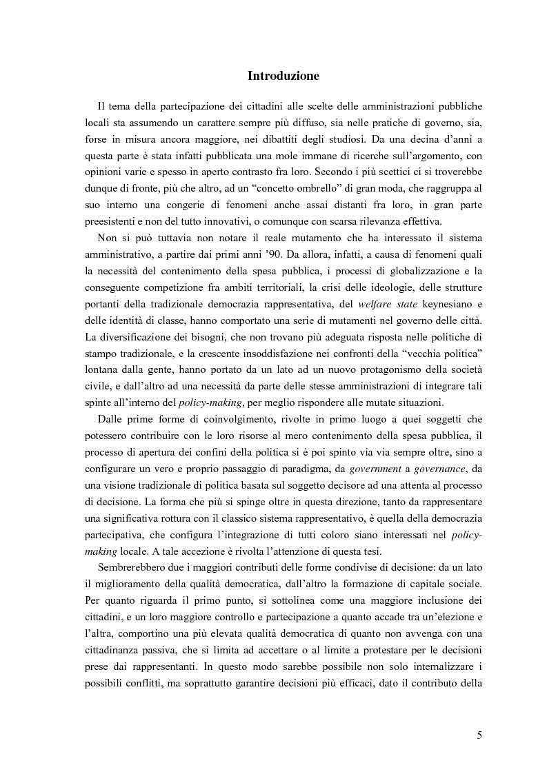 Anteprima della tesi: Partecipazione, cittadinanza attiva e nuovi modelli di governance. Uno studio di caso nell'area genovese, Pagina 2