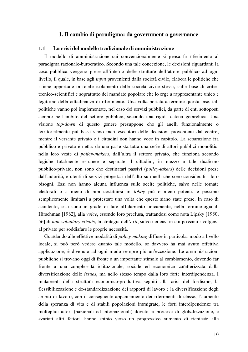 Anteprima della tesi: Partecipazione, cittadinanza attiva e nuovi modelli di governance. Uno studio di caso nell'area genovese, Pagina 7