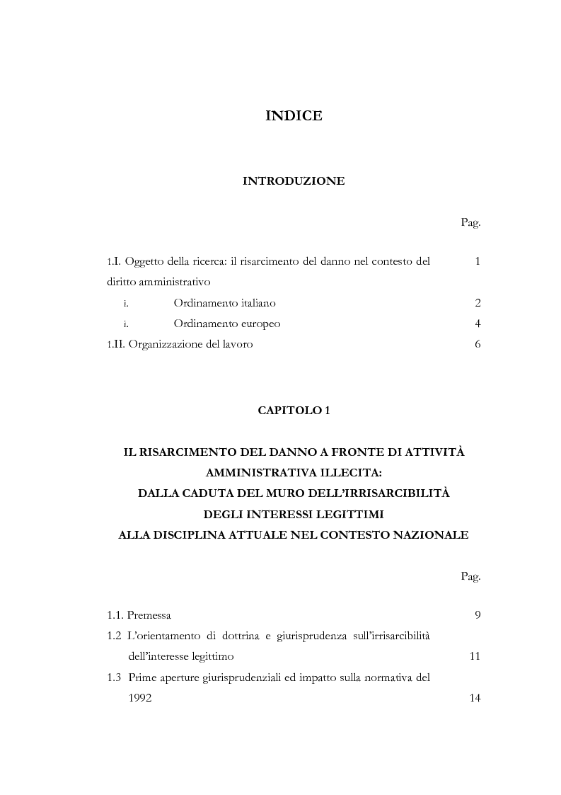 Indice della tesi: Il risarcimento del danno contro gli atti amministrativi illeciti: rapporto tra ordinamento italiano ed europeo, Pagina 1
