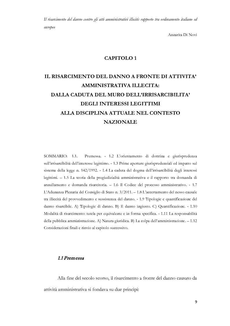Anteprima della tesi: Il risarcimento del danno contro gli atti amministrativi illeciti: rapporto tra ordinamento italiano ed europeo, Pagina 10