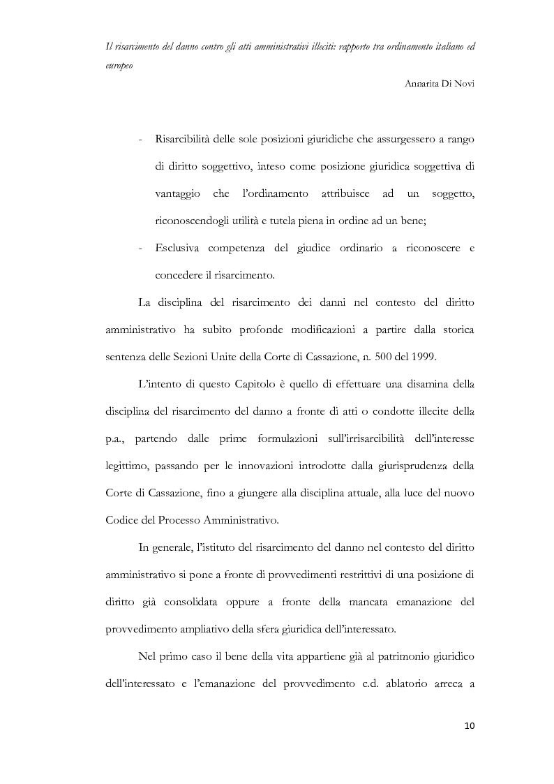 Anteprima della tesi: Il risarcimento del danno contro gli atti amministrativi illeciti: rapporto tra ordinamento italiano ed europeo, Pagina 11