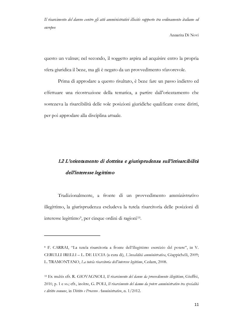 Anteprima della tesi: Il risarcimento del danno contro gli atti amministrativi illeciti: rapporto tra ordinamento italiano ed europeo, Pagina 12