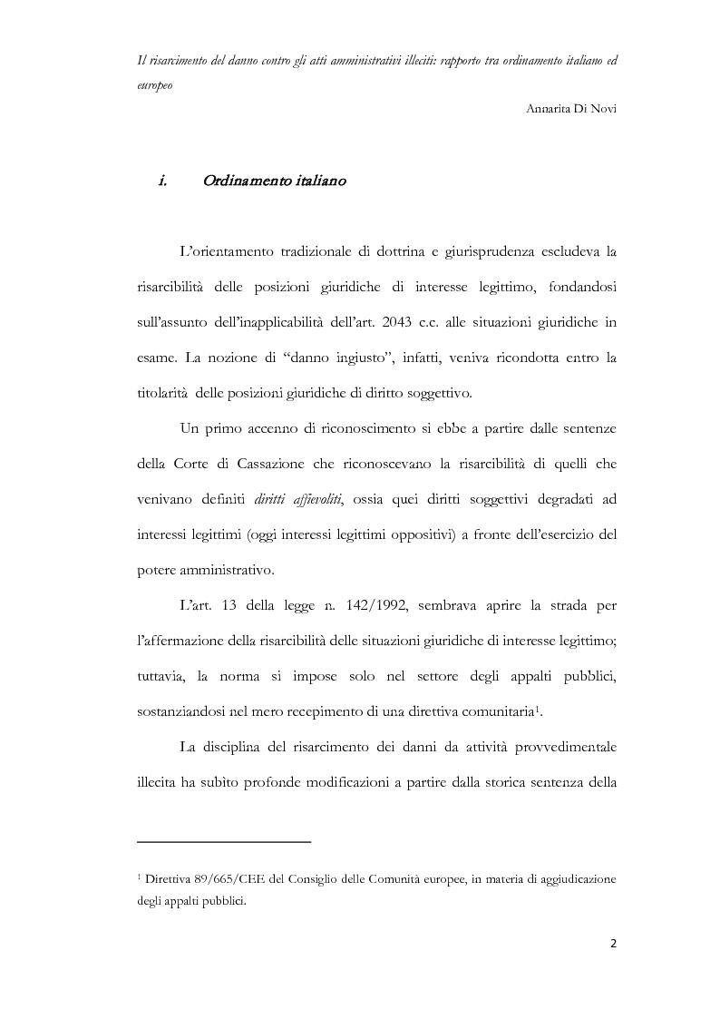 Anteprima della tesi: Il risarcimento del danno contro gli atti amministrativi illeciti: rapporto tra ordinamento italiano ed europeo, Pagina 3