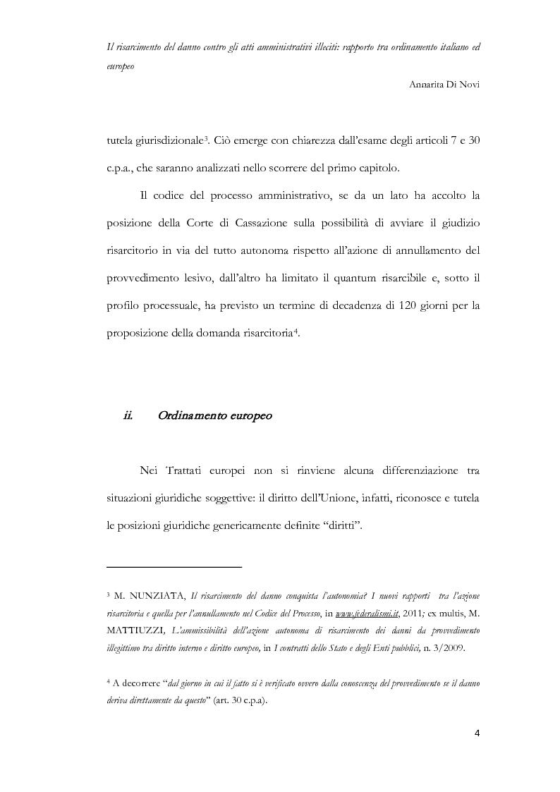 Anteprima della tesi: Il risarcimento del danno contro gli atti amministrativi illeciti: rapporto tra ordinamento italiano ed europeo, Pagina 5