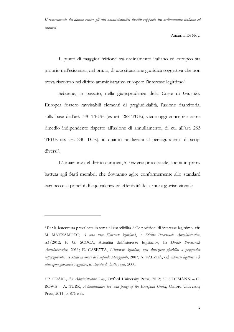 Anteprima della tesi: Il risarcimento del danno contro gli atti amministrativi illeciti: rapporto tra ordinamento italiano ed europeo, Pagina 6