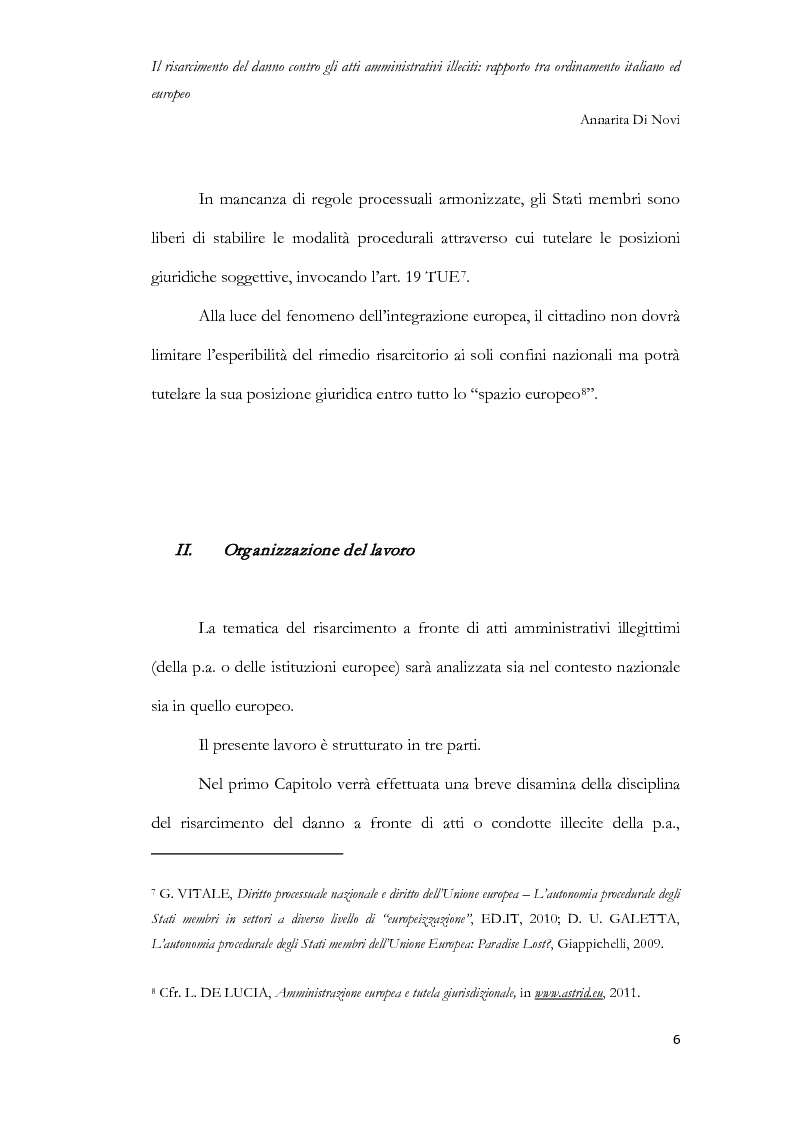 Anteprima della tesi: Il risarcimento del danno contro gli atti amministrativi illeciti: rapporto tra ordinamento italiano ed europeo, Pagina 7
