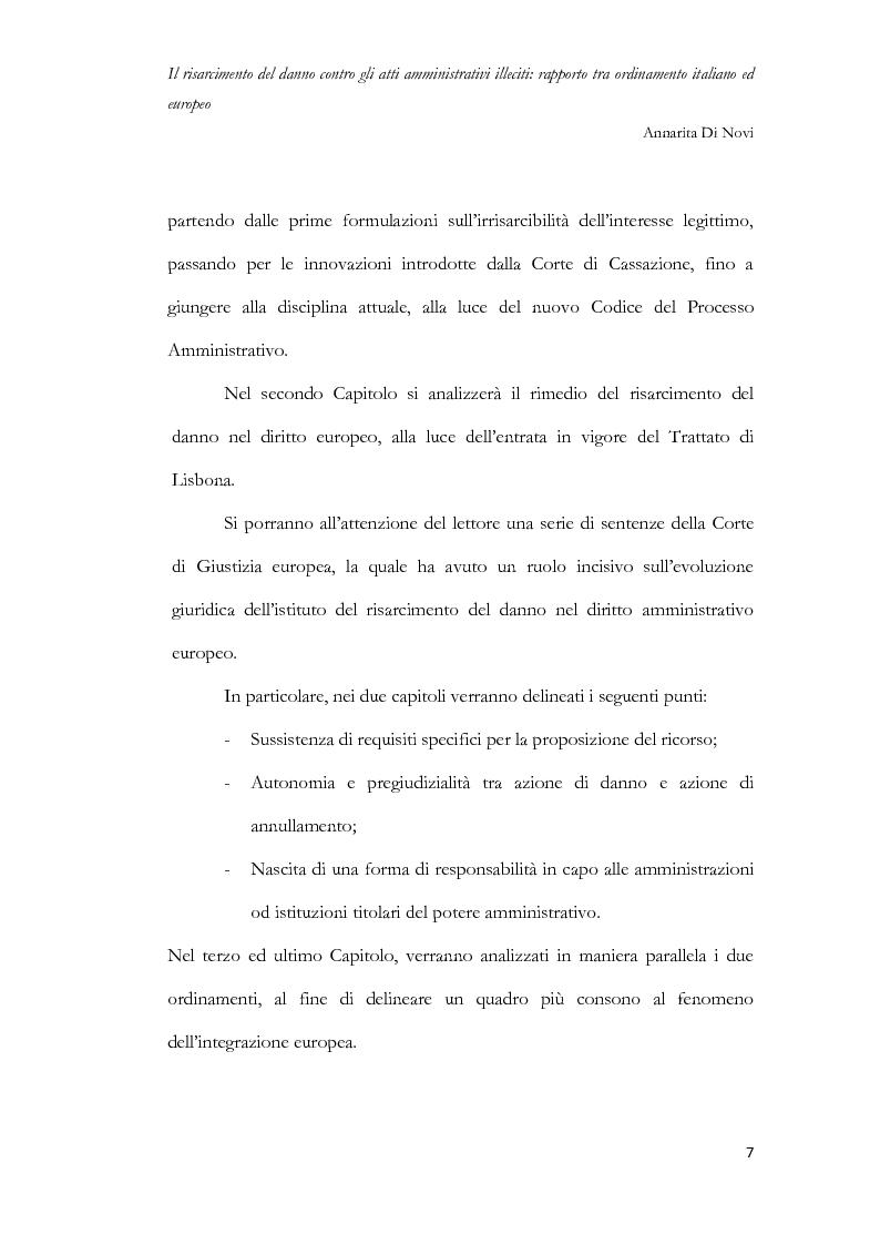 Anteprima della tesi: Il risarcimento del danno contro gli atti amministrativi illeciti: rapporto tra ordinamento italiano ed europeo, Pagina 8