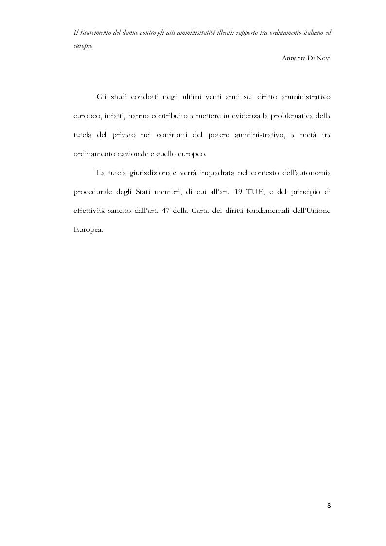 Anteprima della tesi: Il risarcimento del danno contro gli atti amministrativi illeciti: rapporto tra ordinamento italiano ed europeo, Pagina 9