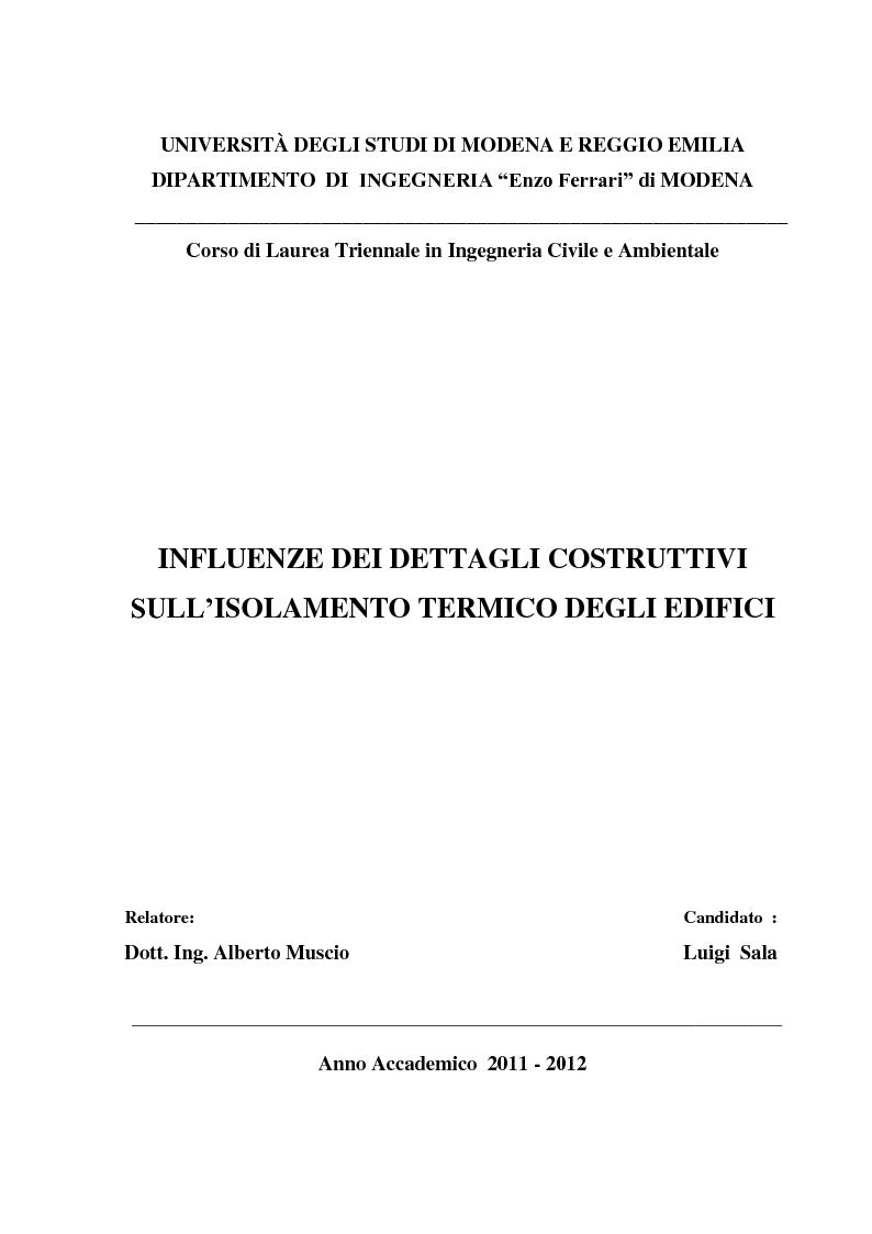 Anteprima della tesi: Influenze dei dettagli costruttivi sull'isolamento termico degli edifici, Pagina 1