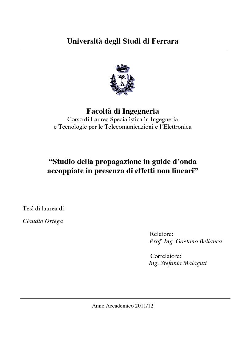Anteprima della tesi: Studio della propagazione in guide d'onda accoppiate in presenza di effetti non lineari, Pagina 1