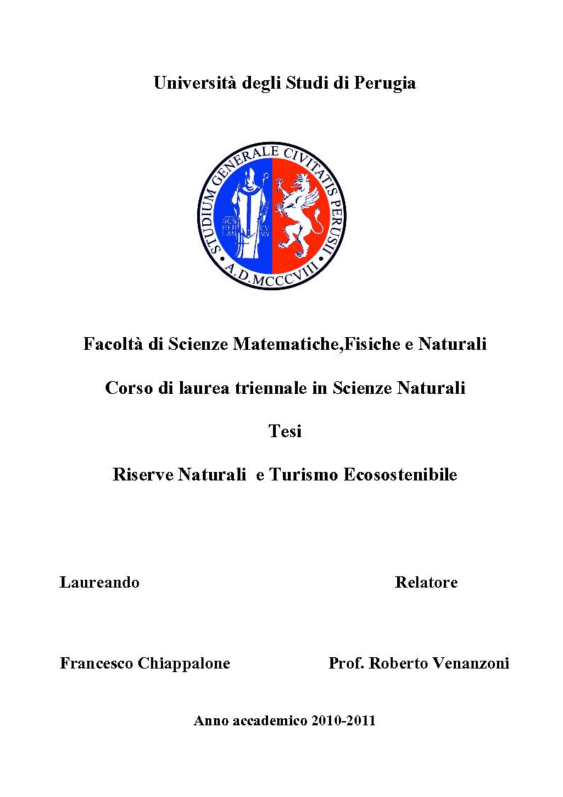 Anteprima della tesi: Riserve Naturali e Turismo Ecosostenibile, Pagina 1