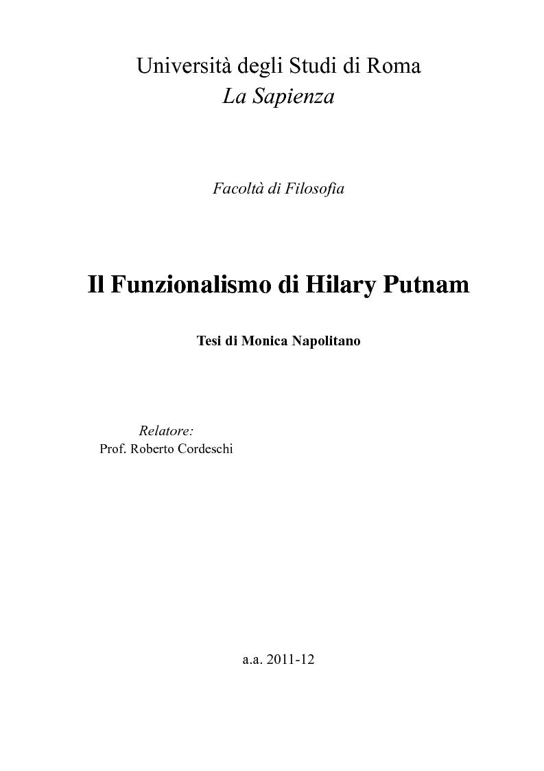 Anteprima della tesi: Il Funzionalismo di Hilary Putnam, Pagina 1
