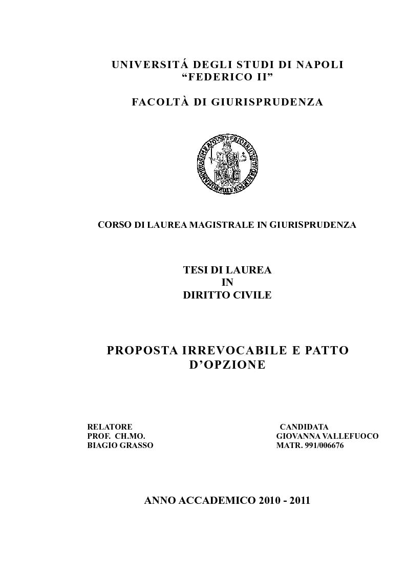 Anteprima della tesi: Proposta irrevocabile e patto d'opzione, Pagina 1