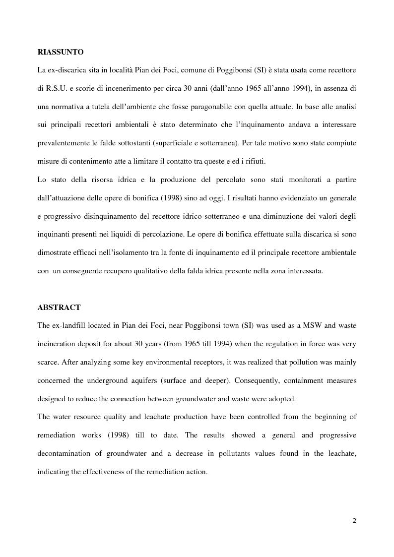 Anteprima della tesi: Monitoraggio della efficacia della bonifica di una discarica per RSU e scorie di incenerimento  in località Pian de' Foci – Poggibonsi (SI), Pagina 2