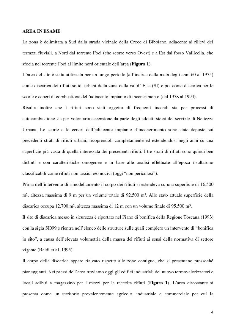 Anteprima della tesi: Monitoraggio della efficacia della bonifica di una discarica per RSU e scorie di incenerimento  in località Pian de' Foci – Poggibonsi (SI), Pagina 4