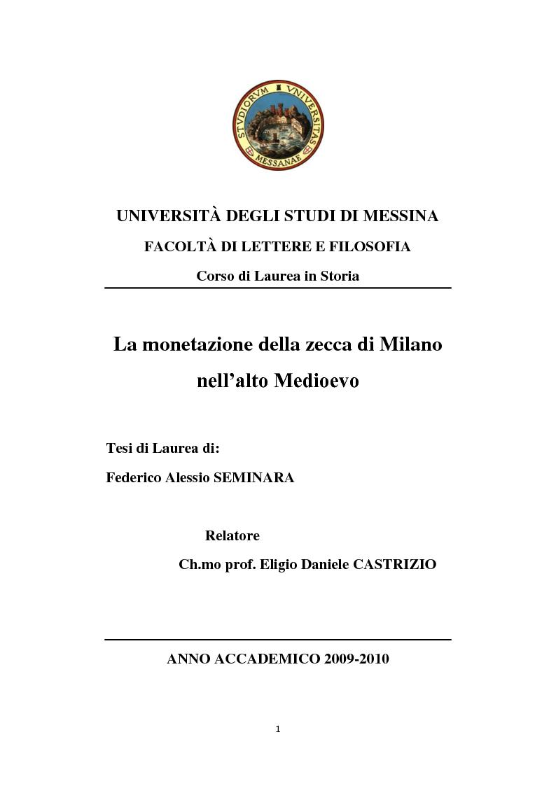 Anteprima della tesi: La monetazione della zecca di Milano nell'alto Medioevo, Pagina 1