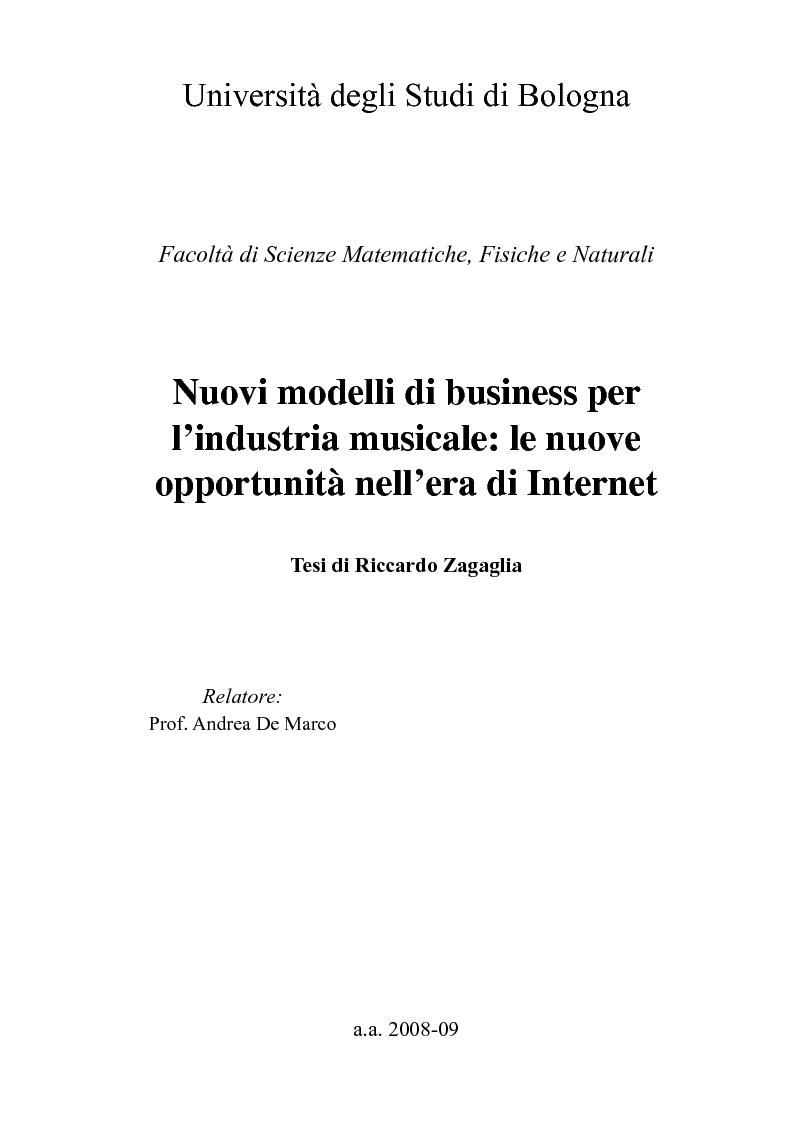 Anteprima della tesi: Nuovi modelli di business per l'industria musicale: le nuove opportunità nell'era di Internet, Pagina 1