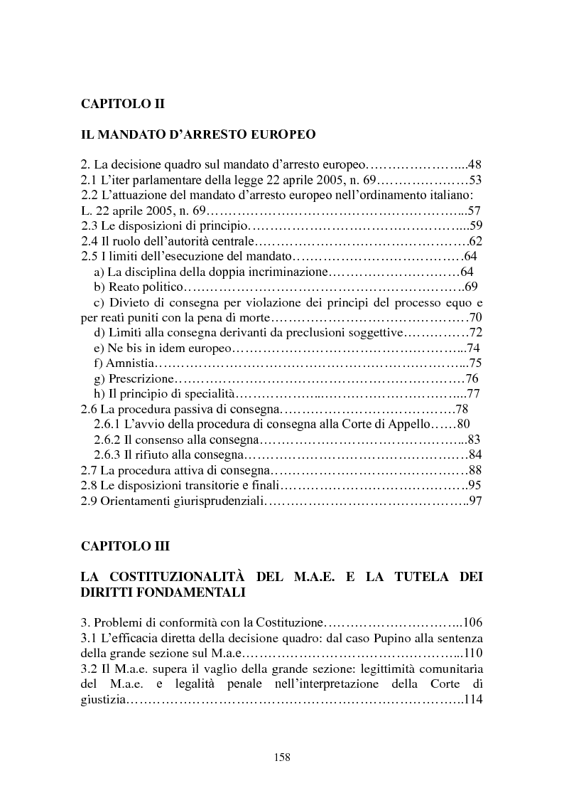 Indice della tesi: Le procedure di consegna: dall'estradizione al mandato di arresto europeo, Pagina 2
