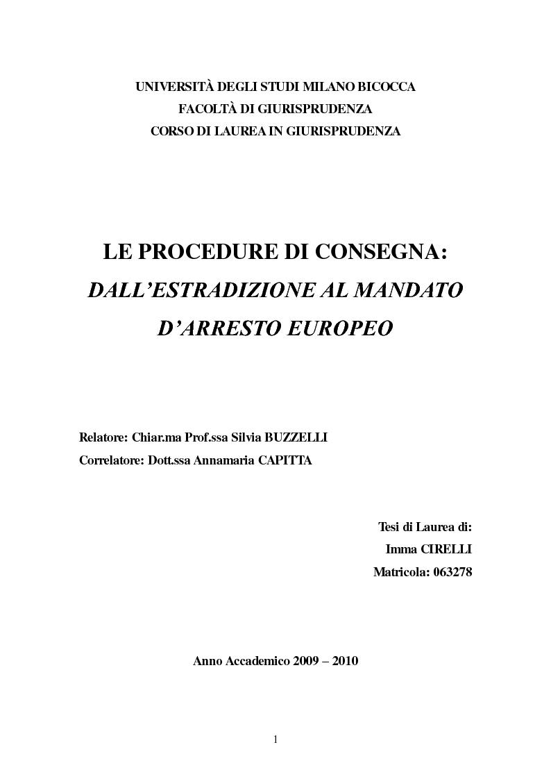 Anteprima della tesi: Le procedure di consegna: dall'estradizione al mandato di arresto europeo, Pagina 1