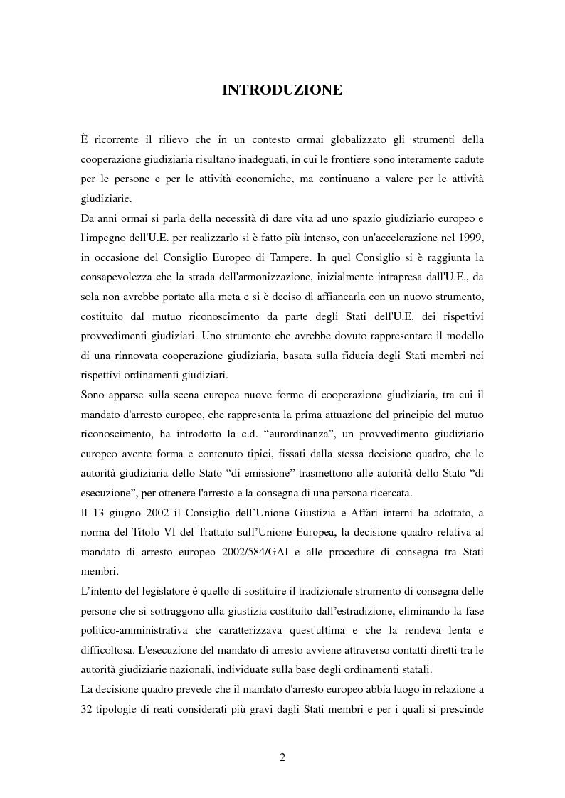 Anteprima della tesi: Le procedure di consegna: dall'estradizione al mandato di arresto europeo, Pagina 2