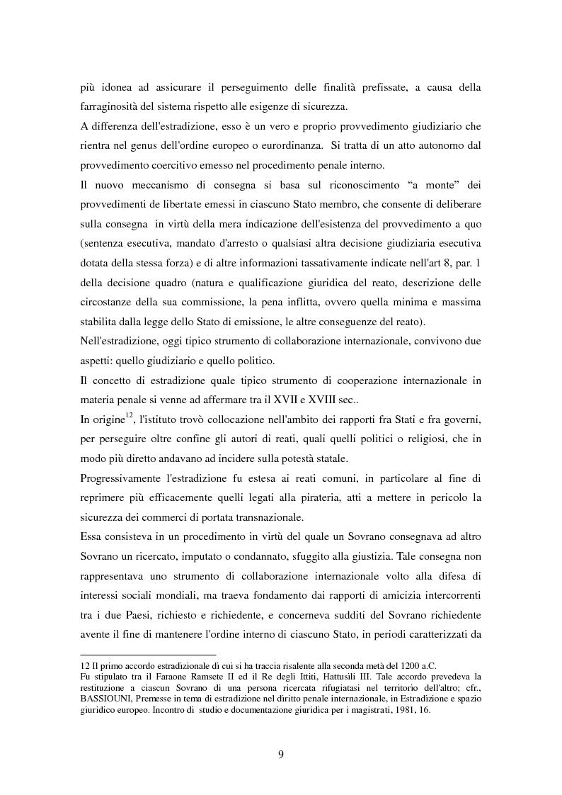 Anteprima della tesi: Le procedure di consegna: dall'estradizione al mandato di arresto europeo, Pagina 9