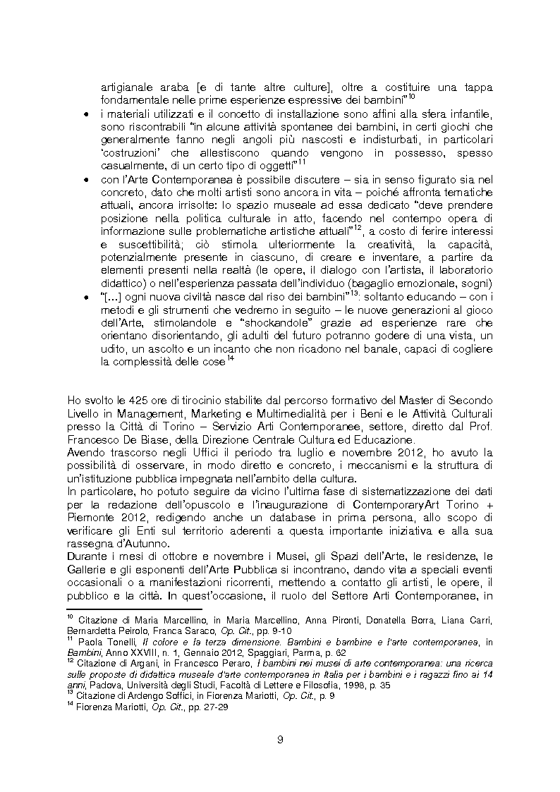 Anteprima della tesi: La rete della Creatività: le occasioni di avvicinamento all'Arte Contemporanea per i bambini e i ragazzi tra i 3 e i 14 anni, Pagina 5