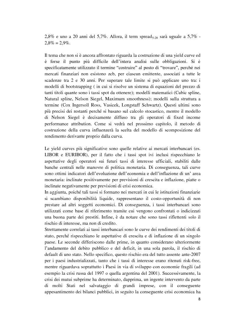 Estratto dalla tesi: Fixed Income Performance Attribution