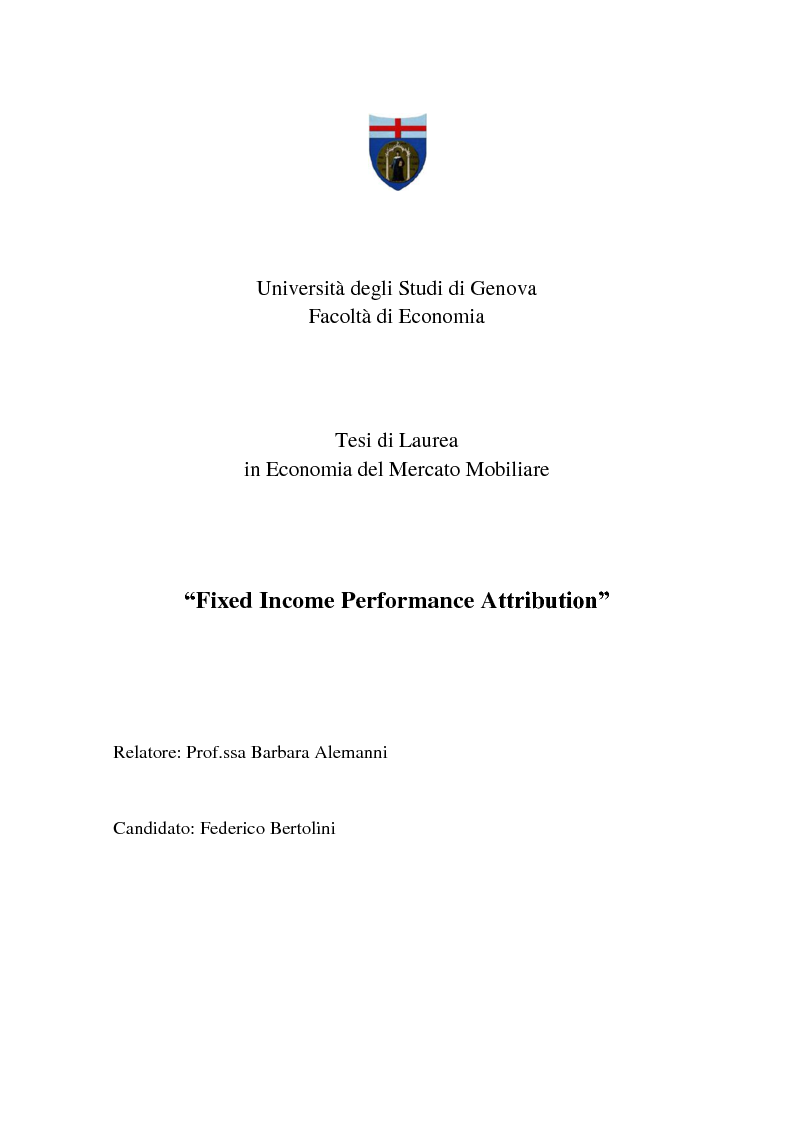 Anteprima della tesi: Fixed Income Performance Attribution, Pagina 1