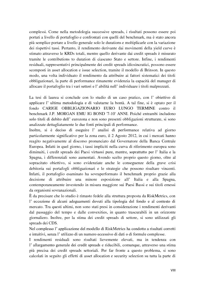 Anteprima della tesi: Fixed Income Performance Attribution, Pagina 5