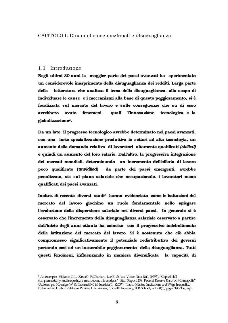 Anteprima della tesi: Dinamiche occupazionali e disuguaglianza, Pagina 6
