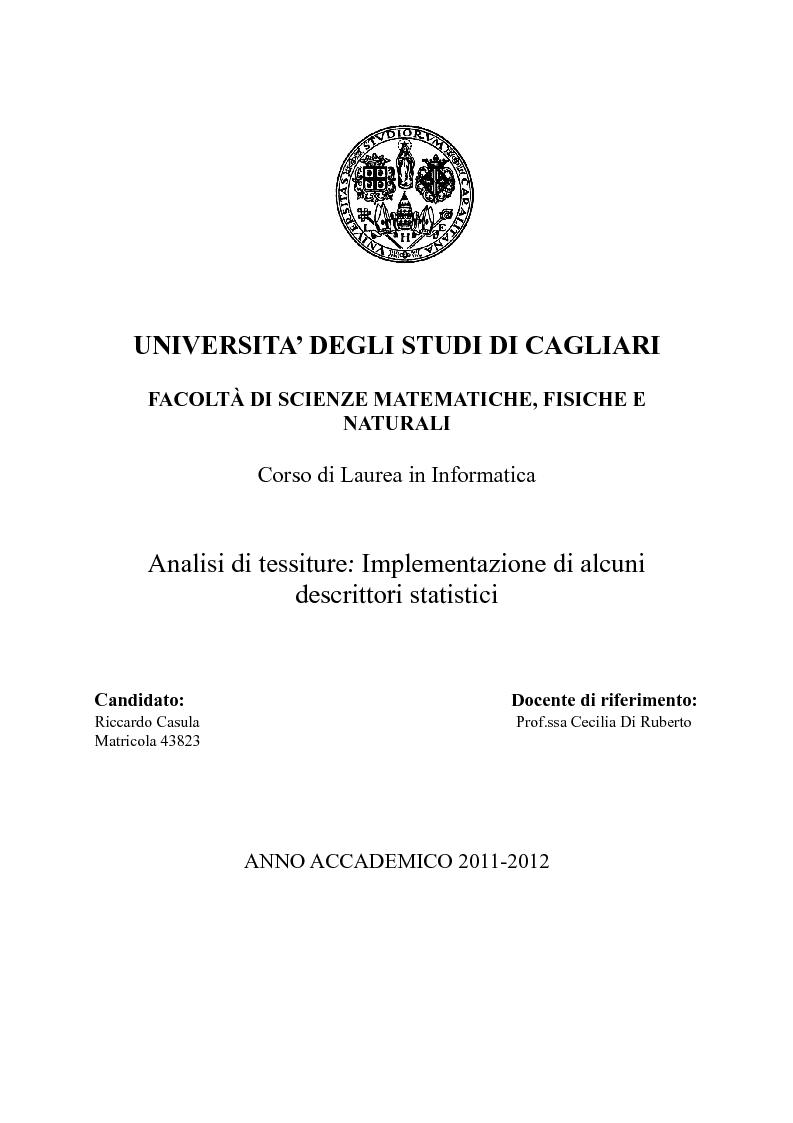 Anteprima della tesi: Analisi di Tessiture: Implementazione di alcuni descrittori statistici, Pagina 1