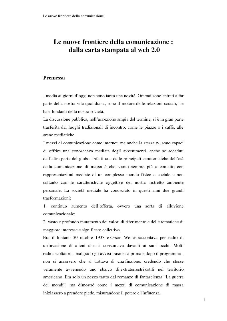 Anteprima della tesi: Le nuove frontiere della comunicazione: dalla carta stampata al web 2.0 una ricerca tra gli studenti universitari di Bologna, Pagina 2