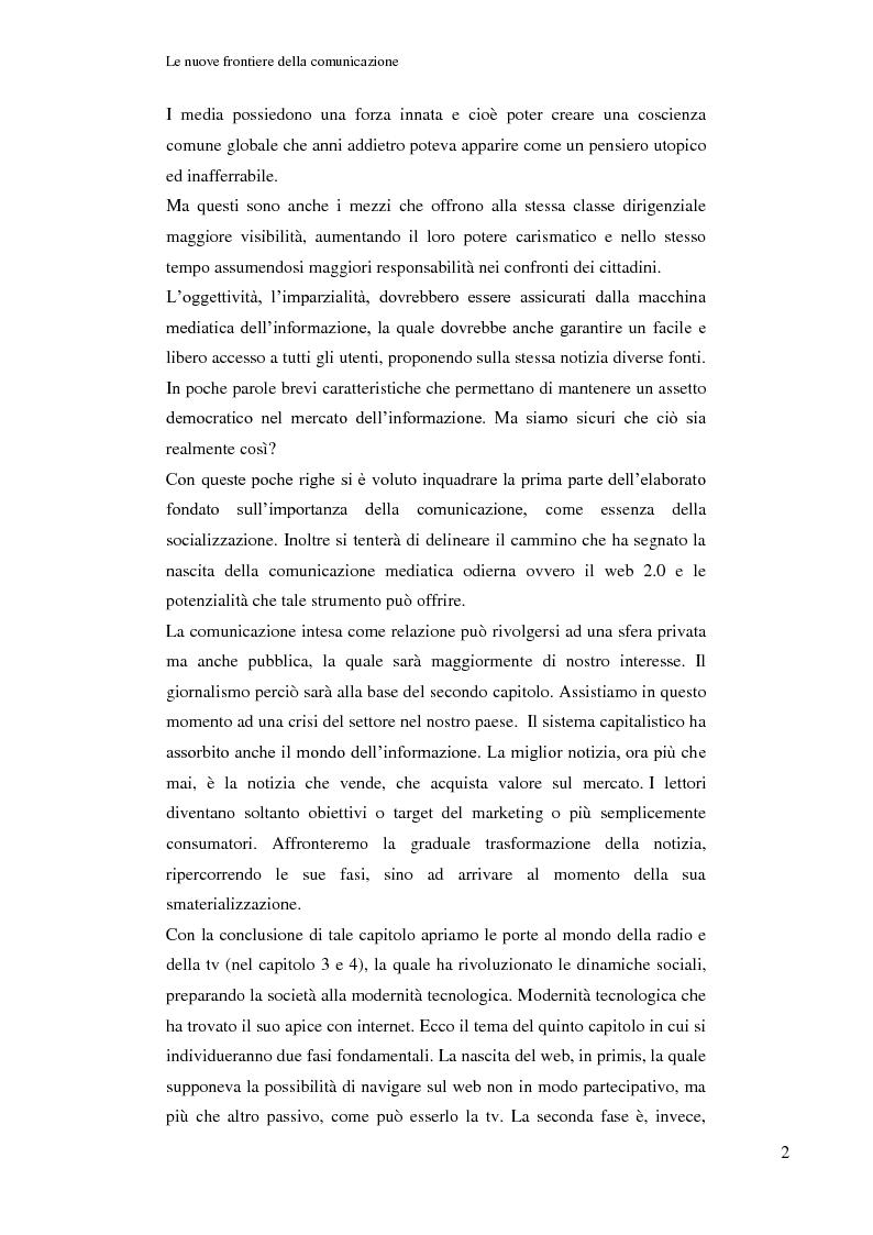 Anteprima della tesi: Le nuove frontiere della comunicazione: dalla carta stampata al web 2.0 una ricerca tra gli studenti universitari di Bologna, Pagina 3