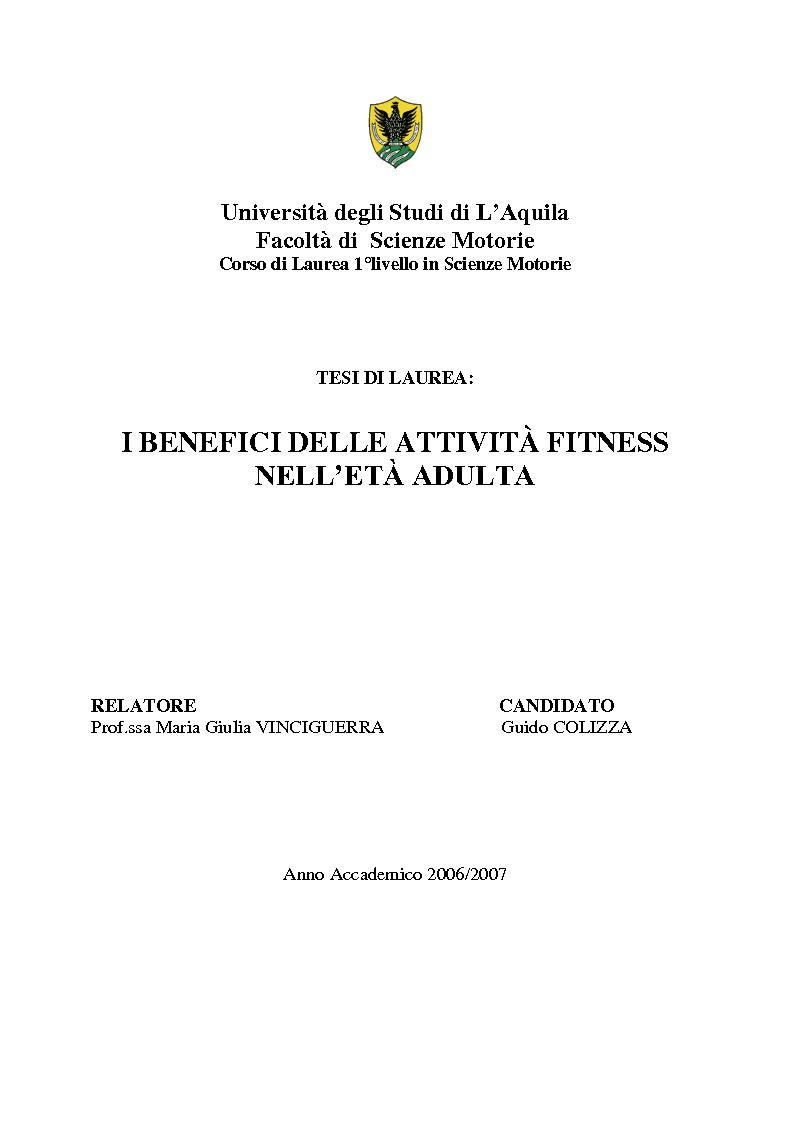 Anteprima della tesi: I benefici delle attività fitness nell'età adulta, Pagina 1