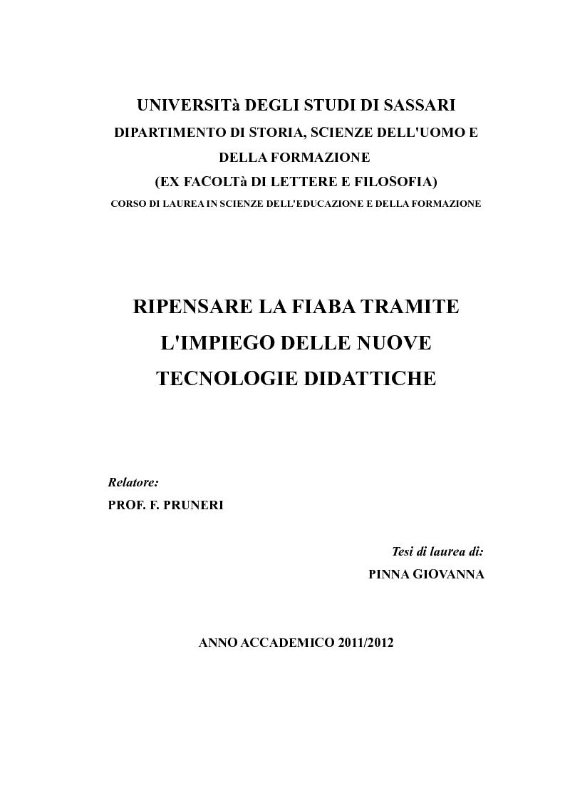 a3047cccb5 Anteprima della tesi: Ripensare la fiaba tramite l'impiego delle nuove  tecnologie didattiche,