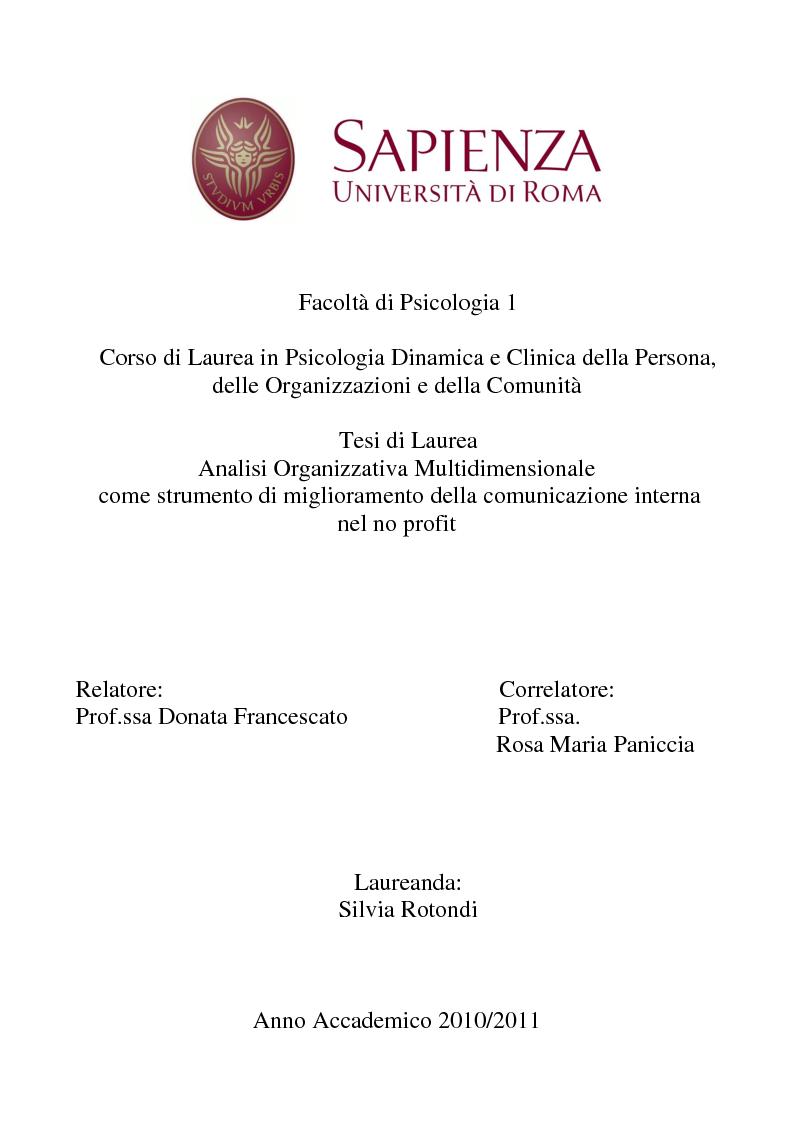 Anteprima della tesi: Analisi Organizzativa Multidimensionale come strumento di miglioramento della comunicazione  interna nel no profit, Pagina 1