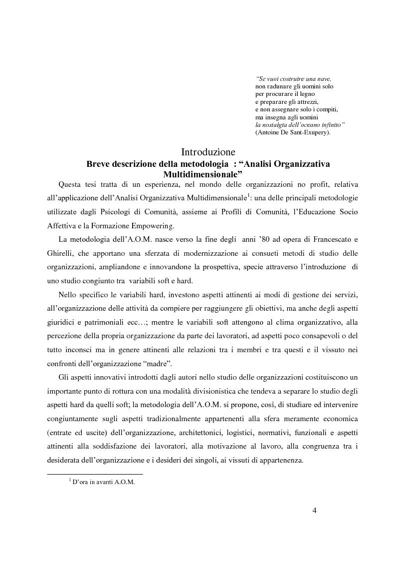 Anteprima della tesi: Analisi Organizzativa Multidimensionale come strumento di miglioramento della comunicazione  interna nel no profit, Pagina 2