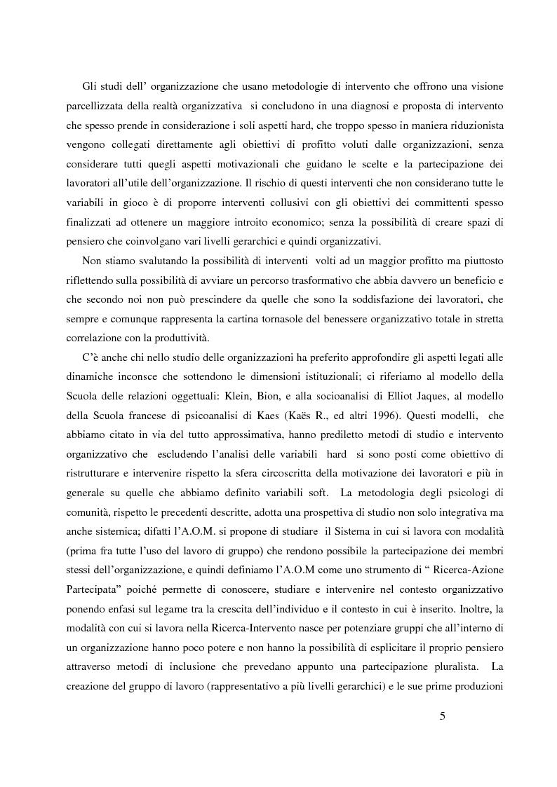 Anteprima della tesi: Analisi Organizzativa Multidimensionale come strumento di miglioramento della comunicazione  interna nel no profit, Pagina 3
