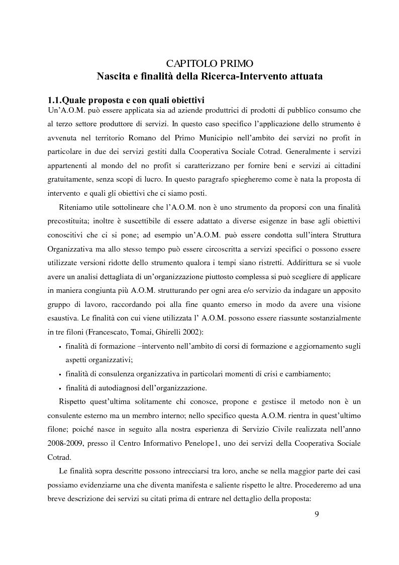 Anteprima della tesi: Analisi Organizzativa Multidimensionale come strumento di miglioramento della comunicazione  interna nel no profit, Pagina 7