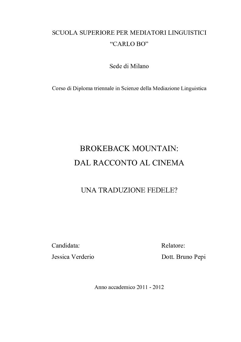 Anteprima della tesi: Brokeback Mountain: dal racconto al cinema. Una traduzione fedele?, Pagina 1