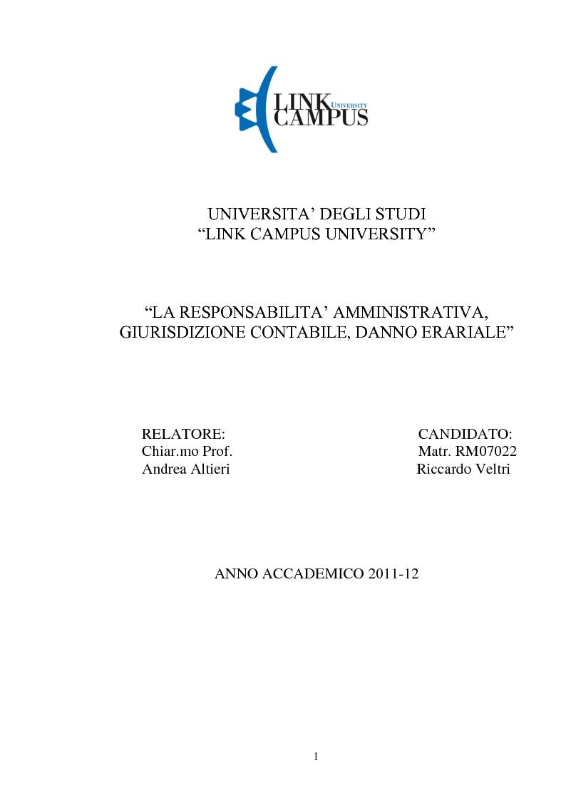 Anteprima della tesi: La responsabilità amministrativa patrimoniale, Giurisdizione Contabile, Danno Erariale, Pagina 1